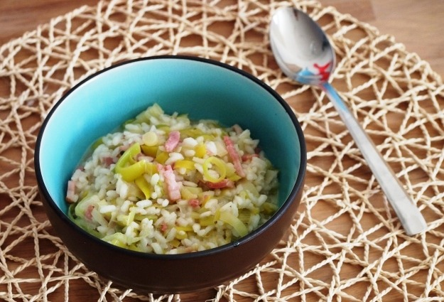 Smeuïge risotto met prei en spekjes