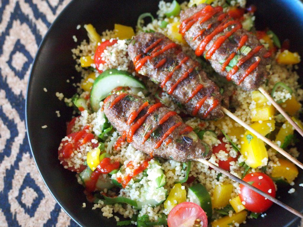 Kebabs met frisse couscoussalade