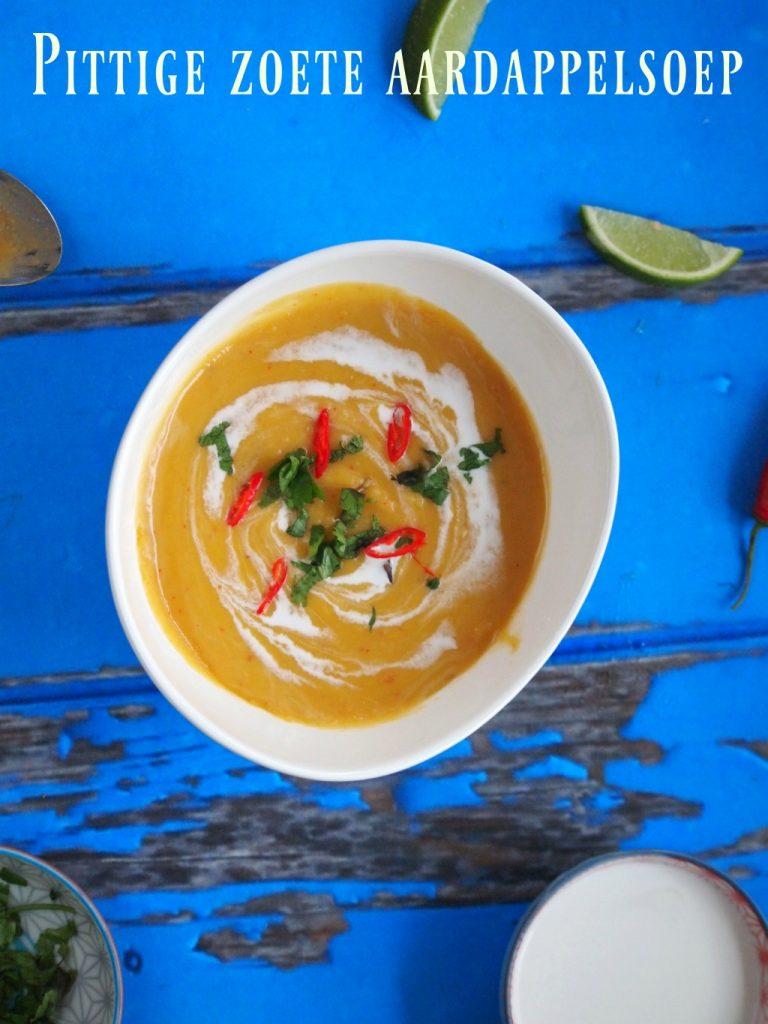 Pittige zoete aardappelsoep met rode curry