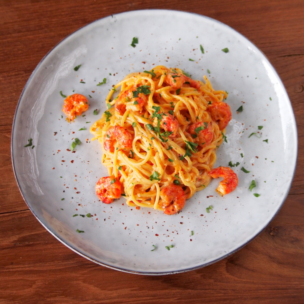 Bang Bang pasta met garnalen