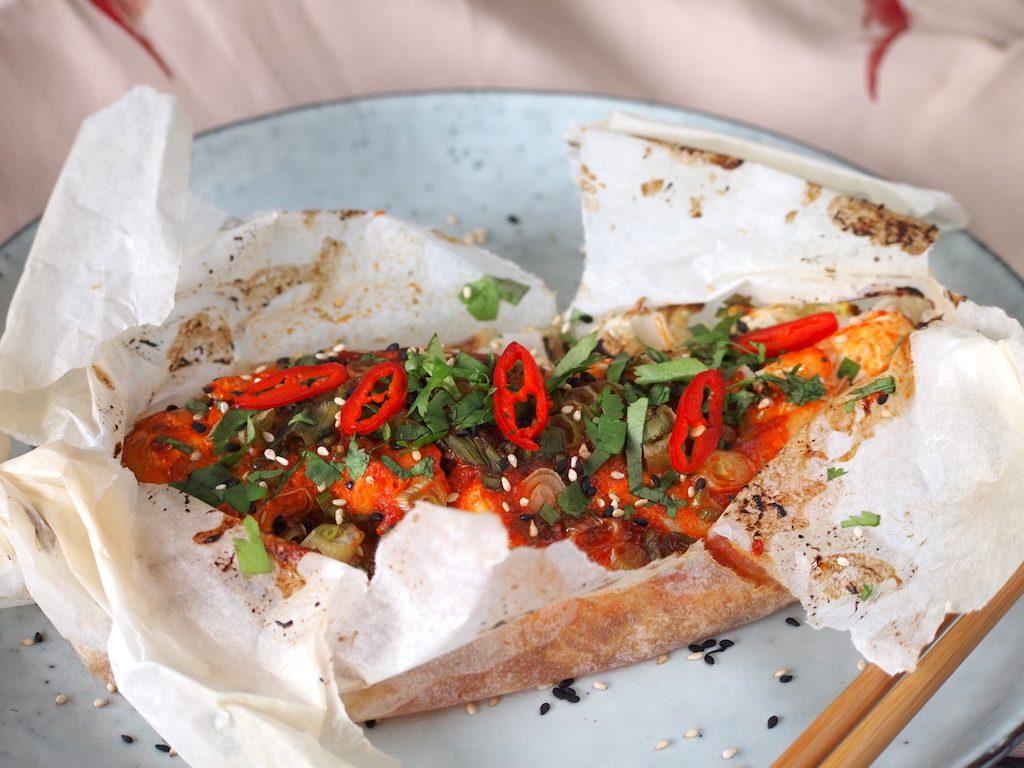 Koreaanse vispakketjes uit de oven