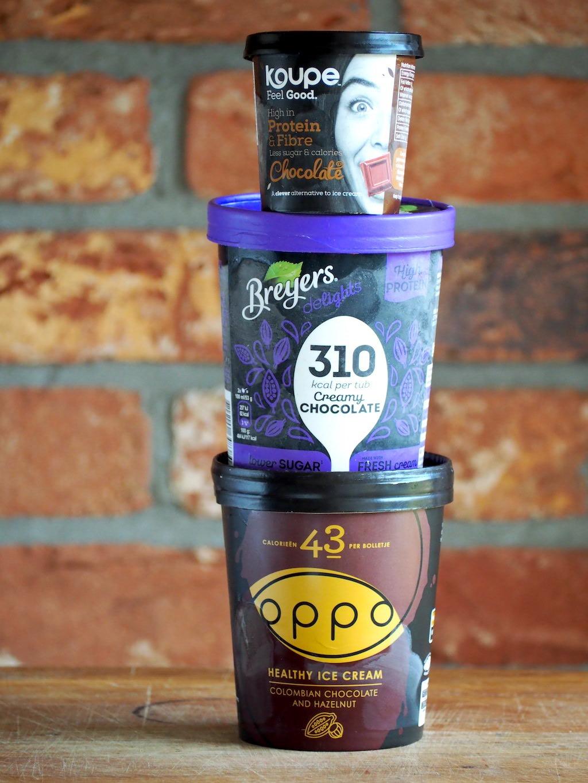 Welk low-calorie ijs is het lekkerst? (Oppo, Breyers en Koupe)