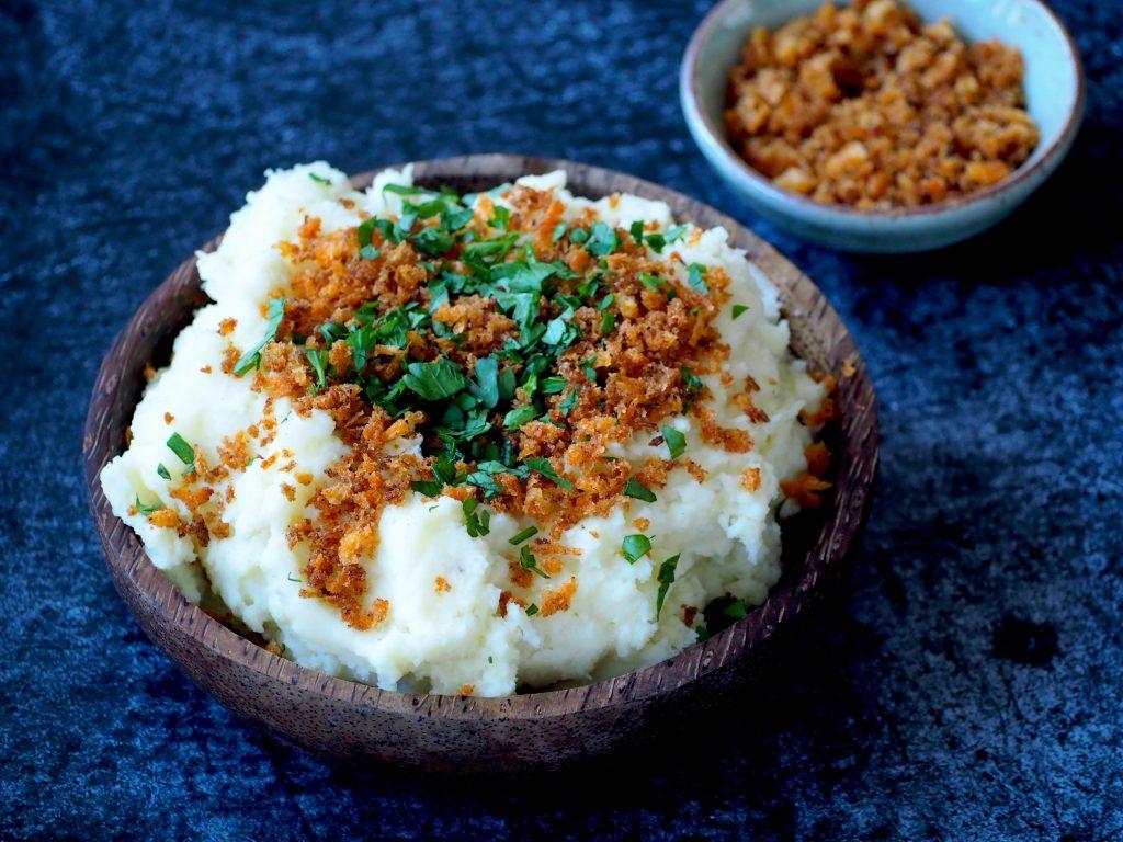 Aardappelpuree met kaas en pittig kruim